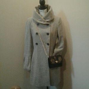 Zara Basic Long Beige taupe Wool Coat Size Medium